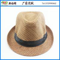 外贸出口 2015年新款夏日遮阳沙滩帽子调染草编爵士帽 定型小礼帽