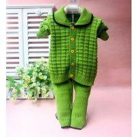 2014新款童毛衫 方块毛绒针织长袖韩版儿童毛衣外套男女童开衫套