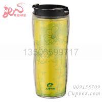 供应多年老厂创意塑料杯广告杯双层星巴克咖啡杯插画内容自定diy水杯