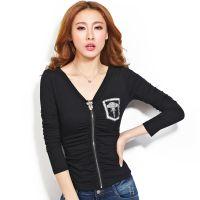 2014秋装新款韩版性感拉链开衫女装修身显瘦T恤长袖打底衫T恤