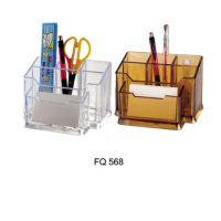 富强组合型笔筒FQ568 多功能透明塑料办公笔座/笔盒架