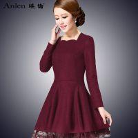 毛呢连衣裙秋冬新品大码A字裙长袖修身显瘦中长款羊毛呢子连衣裙