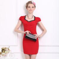 实拍红色镶黑色蕾丝花边修身紧身名媛气质泡泡短袖连衣裙