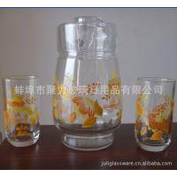 【厂家直销】美的水具七件套、印花冷水壶、印花水杯、水壶套装