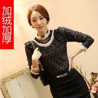 2014秋冬新款 韩版高领蕾丝钉珠长袖打底衫 加绒