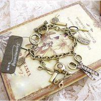 欧美精致女式手链 特价复古吹风机剪刀梳子镜子多元素手链GST0103