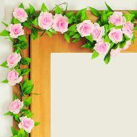 塑料藤条假花玫瑰客厅仿真 仿真藤仿花藤装饰花藤管道装饰花藤蔓