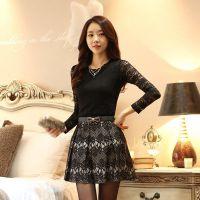 2014秋季新款韩版女修身打底衫蕾丝T恤修身圆领打底衣上衣