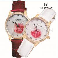 个性时尚浪漫玫瑰女士手表  真皮不锈钢带钻精品女表rose watch