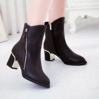 短靴女冬季高跟2014秋冬裸靴粗跟女靴尖头复古马丁靴子女靴子 冬