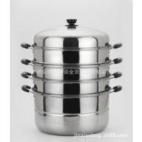 厂家直销超大容量带磁加厚五层不锈钢特大蒸锅 节能锅 四层蒸锅