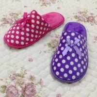 14年新款 时尚女士拖鞋 圆点蝴蝶结 超柔软舒适地板鞋【图】