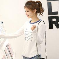 2014秋装新款韩版宽松印花圆领套头长袖T恤女 打底衫SXE1126