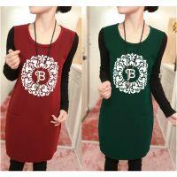 2014韩版新款女加绒加厚拼接长袖T恤保暖印花中长款打底衫