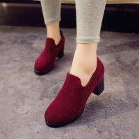 2014春秋季新款女粗跟鞋高跟工作鞋时尚欧美厚底皮鞋单鞋少女鞋子