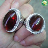 银子镶嵌精美琥珀,血珀戒指,大气时尚婚庆礼品戒指饰品礼品