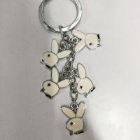 供应滴胶金属小兔子串链钥匙扣 金属钥匙扣串串兔头 广告促销礼品