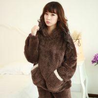 珊瑚绒女士睡衣秋冬法兰绒毛毛熊超柔加厚长袖冬季家居服套装