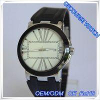 外贸速卖通新款手表 简约大三针白色圆盘手表 男士带日历合金表