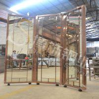 供应广东304不锈钢镜面古铜旋转门生产厂家&专业不锈钢镜面古铜旋转门加工厂