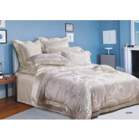 Silk Jacquard White Luxury Bed Sets , Durable And Full Size Bedding Sets