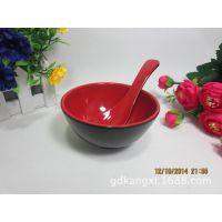 耐高温红黑密胺餐具A5仿瓷饭碗小吃碗4寸甜品碗塑料碗酒店连锁