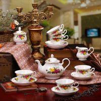 15头骨瓷拍金咖啡具套装欧式咖啡杯碟 咖啡套具英式茶具陶瓷