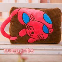 韩国超柔短绒卡通绣花电热水袋 双插手提暖手宝 可拆洗暖袋