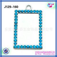 厂家直销彩色镶钻长方形可贴照片合金挂件DIY韩版来图定制钥匙扣