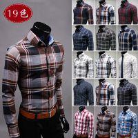 外贸EABY速卖通批发 修身彩格衬衣休闲男士纯棉格子长袖衬衫 6561
