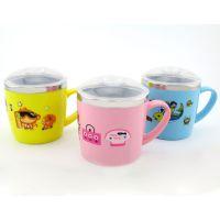 304儿童水杯口杯 不锈钢防摔杯子 双层隔热 带盖带手柄 儿童餐具