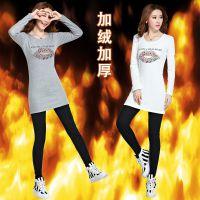 实拍秋冬女装韩版包臀修身长袖女T恤中长款加厚加绒打底衫