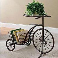 欧式铁艺花架 田园阳台自行车植物架 室内客厅花盆架花盘白色