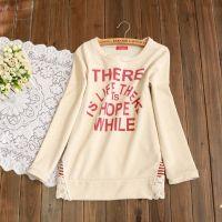 批发供应秋季新品纯棉小毛圈字母印花蕾丝拼接打底衫T恤女A16L47