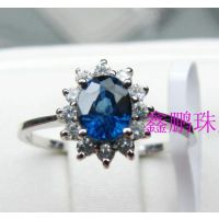 山东特产 批发18K白金配钻天然蓝宝石戒指女 威廉王子同款