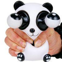 挤白熊猫活动转眼玩具,搪胶软性挤活动转眼玩具