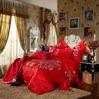 婚庆家纺 婚庆四件套 六件套 大红色 提花床品套件 一件代发