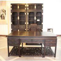 明清古典家具/中式老板台/办公桌/宝座书桌/大叶紫檀书房3件套图片