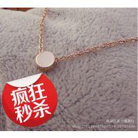 迷你许愿小金豆 玫瑰金项链短钛钢颈链彩金女锁骨链首饰韩国饰品