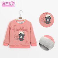 2014童装秋冬装新款 韩版儿童加绒加厚打底衫长袖t恤 厂家批发