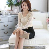 厂家直销 蕾丝打底衫秋季新款女装韩版修身显瘦圆领长袖T恤