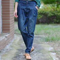 2014秋冬新款例外江南布衣风格个性铅笔小脚裤宽松型大码牛仔裤