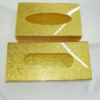 压克力布艺金色纸巾盒 亚克力金色纸巾盒 有机玻璃透明KTV纸巾盒