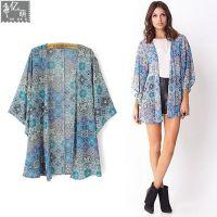 2014夏季女装新款 欧美风蓝色印花雪纺和服披肩防晒外套女4157