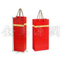 红色金边纸质红酒袋(酒桶,松木酒盒,仿红木酒盒,皮酒盒)