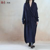 例外风格 棉麻针织连衣裙袍子 温婉斜襟毛衣连衣裙秋冬季