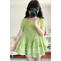日系森林系镂空棉布刺绣泡泡袖大下摆娃娃衫衬衫夏季新04522