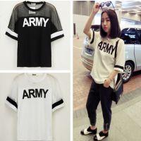 韩版原宿风潮流ARMY英文字母印花拼接网纱蝙蝠袖透气BF短袖T恤