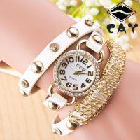 速卖通热销款 欧版三圈铆钉钻 缠绕链条金色手表 外贸手表批发