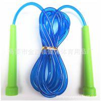 小塑胶水晶透明PVC跳绳 绿色手柄 2元店跳绳 颜色可以定制